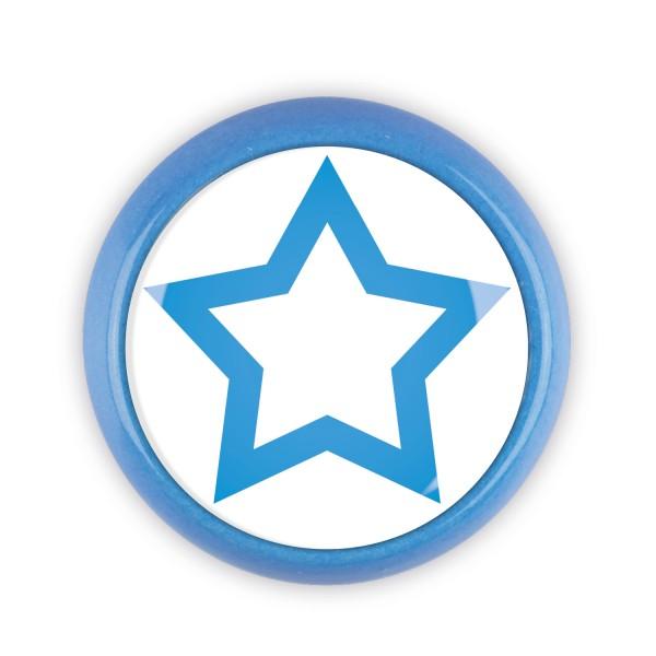 Restposten Möbelknopf Möbelknauf Möbelgriff 06801B Motiv Stern blau