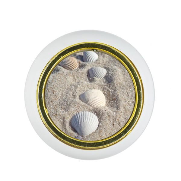 Kunststoff Möbelknopf Klein 00220W Meer Sand Watt Muschel