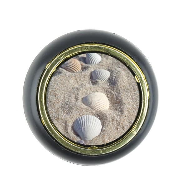 Kunststoff Möbelknopf Klein 00220S Meer Sand Watt Muschel