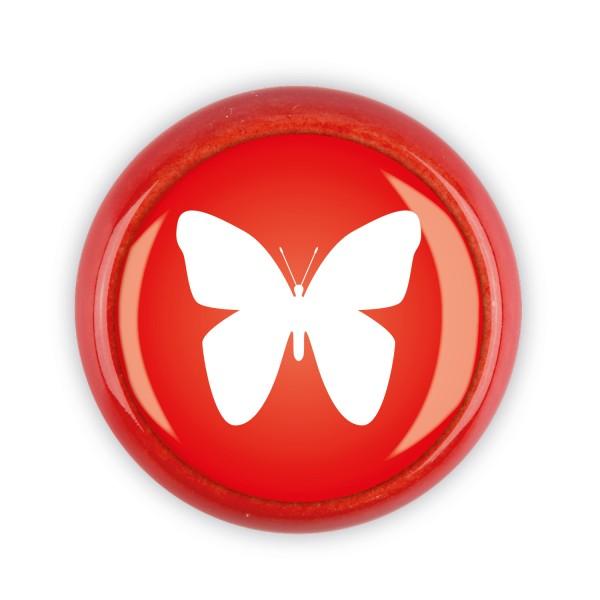 Restposten Möbelknopf Möbelknauf Möbelgriff 06596R Motiv Schmetterling rot