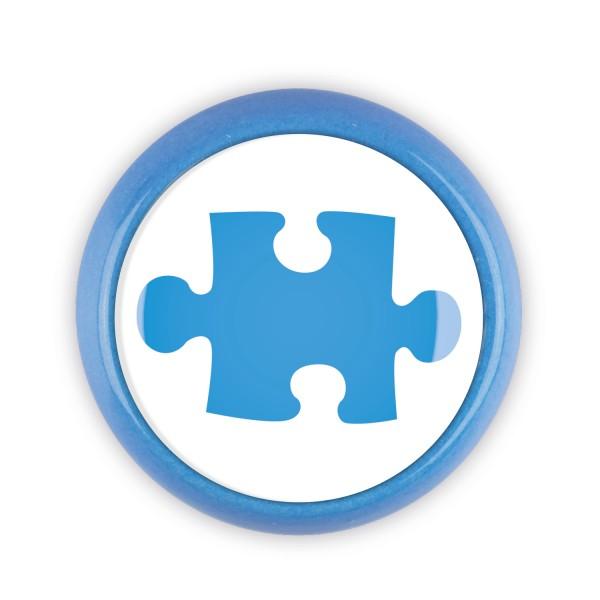 Restposten Möbelknopf Möbelknauf Möbelgriff 06763B Motiv Puzzle blau