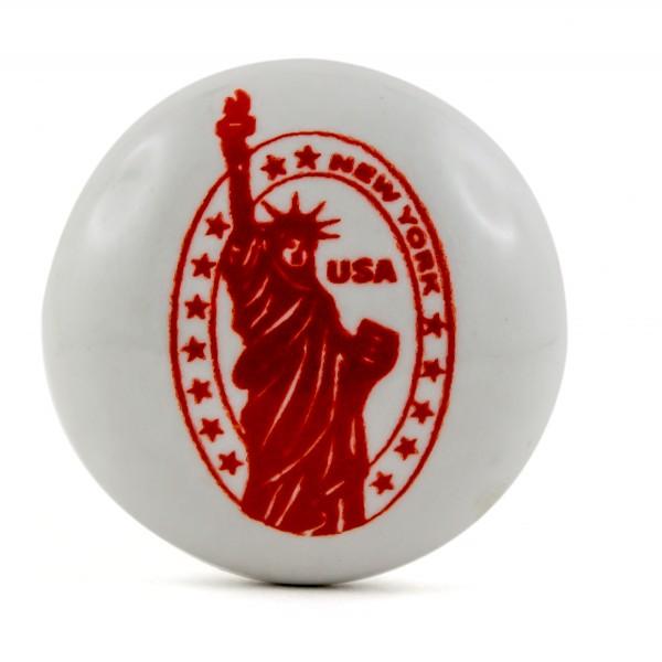 Restposten Möbelknöpfe Möbelgriffe Möbelknopf Keramik - USA FreiheitsStatue rot