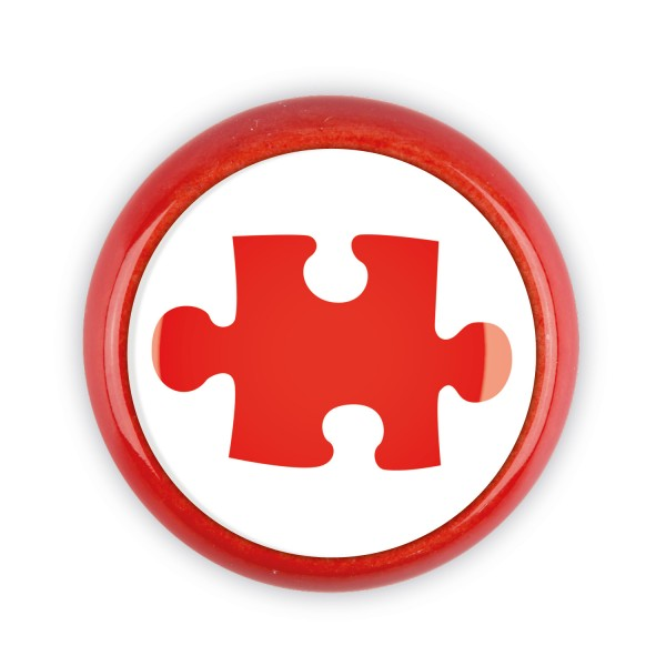 Restposten Möbelknopf Möbelknauf Möbelgriff 06767R Motiv Puzzle rot