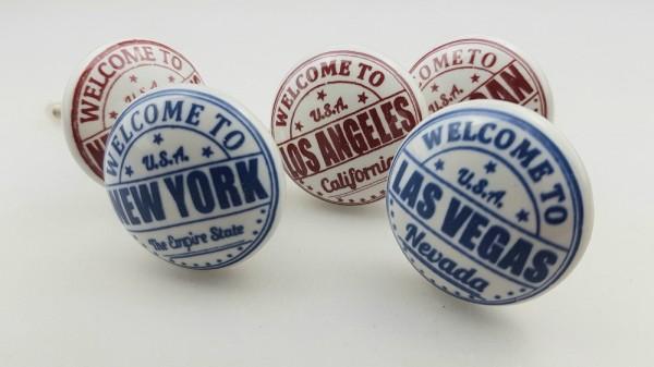 Restposten Möbelknöpfe Möbelgriffe Möbelknopf Keramik - 5er_Set Städte USA